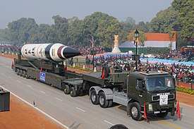 Agni-V missile during rehearsal of Republic Day Parade 2013.jpg