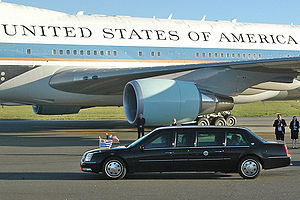 2005 Cadillac DTS Presidential State Car - A side view of the limousine