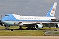 Air Force One arrives at the North Carolina Air National Guard base at Charlotte Douglas International Airport in Charlotte, N.C., Aug. 26, 2014 140826-Z-FY745-141.jpg