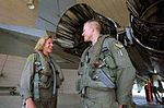Air Force pilots Ken and Katie Ekman, first brother and sister fighter pilots to meet in a mock dogfight Aug 1999.jpg