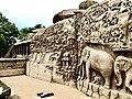 Airavath Sculputures near Krishna Butter ball.jpg