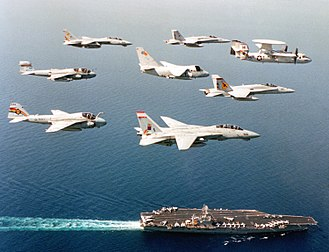 USS Carl Vinson - CVW-14 aircraft over Carl Vinson in 1994