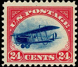 1918 Curtiss Jenny airmail stamps - Image: Airmail 2 1918 Issue 24c