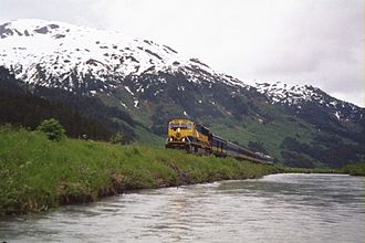 "Transportation in Alaska - Alaska Railroad ""Glacier Discovery"" train"