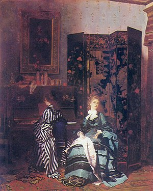 Folding screen - A Chinese Coromandel screen is seen in the oil painting Chopin (1873) by Albert von Keller. Typically for this kind of folding screen, the front has a detailed scene, while the back usually has a simple floral theme.