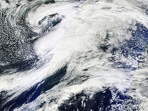 Aleutian Low - A large Aleutian Low in the Gulf of Alaska on October 24, 2011