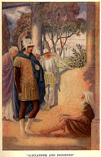 Alexander the Great Visits Diogenes at Corinth by W. Matthews (1914) Alexander visits Diogenes at Corinth by W. Matthews (1914).jpg