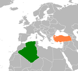 Map indicating locations of Algeria and Turkey