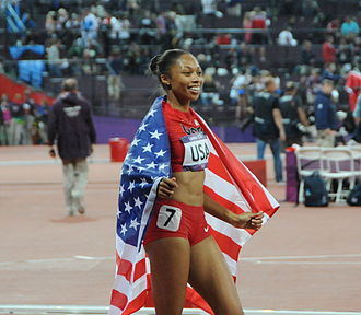Allyson Felix - Felix after the 4 × 400 m relay in London