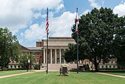 Amelia Gayle Gorgas Library and Flags, UA, Tuscaloosa, South view 20160714 1.jpg