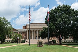 Amelia Gayle Gorgas Library and Flags, UA, Tuscaloosa, South view 20160714 1
