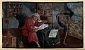 An alchemist concentrates on a book in his study, while Deat Wellcome V0025607.jpg