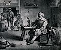 An old man sits with tankard and pipe at a tavern table, thr Wellcome V0019541.jpg