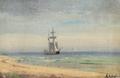 Anders Andersen-Lundby - Marine med orlogsskib for svej ved kysten.png