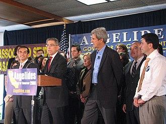 Phil Angelides - From left: Antonio Villaraigosa, Angelides, John Kerry, Cruz Bustamante and Fabian Núñez at a rally for Angelides' gubernatorial campaign