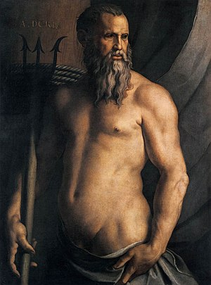 Andrea Doria - Portrait of Andrea Doria as Neptune, by Agnolo Bronzino