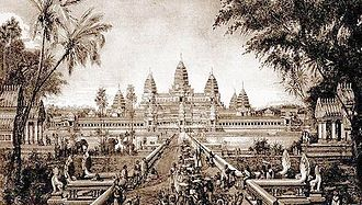 Angkor Wat - Sketch of Angkor Wat, a drawing by Louis Delaporte, c. 1880