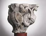 Anonyme toulousain - Chapiteau de colonne simple , Oiseaux dans des lianes - Musée des Augustins - ME 228 (4).jpg