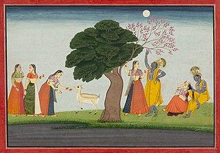 Illustration from a Bhagavata Purana Series, Book 10: Krishna and Radha Under aTree