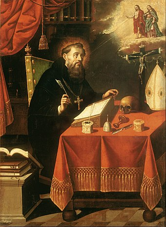 Augustine's view of free will and predestination would go on to have a profound impact on Christian theology Antonio Rodríguez - Saint Augustine - Google Art Project.jpg