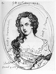 A sketch of Aphra Behn by George Scharf from a portrait believed to be lost.