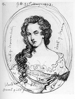 Aphra Behn - A sketch of Aphra Behn by George Scharf from a portrait believed to be lost (1873)