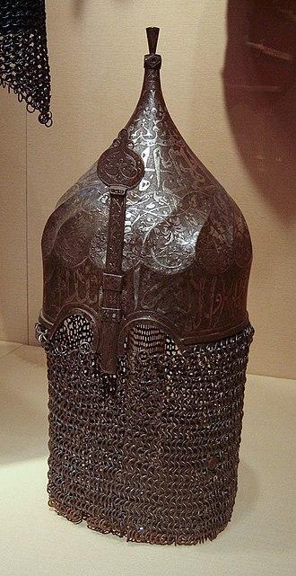 "Farrukh Yassar - Another helmet that bears name of Farrukh Yassar. (""New York Metropolitan Museum"")"