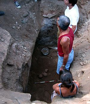 Caria - Archaeologists studying a Carian tomb in Milas, Beçin.