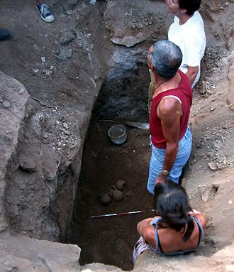 Caria - Archaeologists studying a Carian tomb in Milas, Beçin