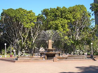 fountain with sculptures in Hyde Park, Sydney
