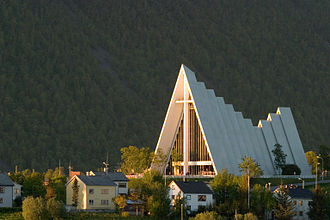 1965 in architecture - Arctic Cathedral in Tromsø designed by Jan Inge Hovig