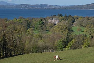 Inverkip - Ardgowan House with the Firth of Clyde beyond. Viewed from Bargane Hill.