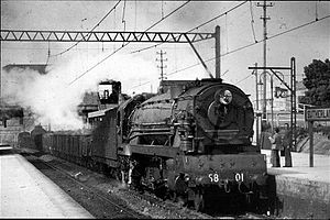New South Wales D58 class locomotive - 5801 hauls a South Coast freight train into Sutherland station