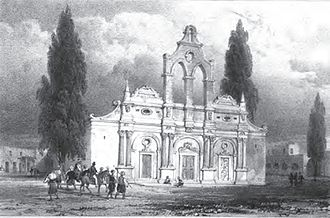 Arkadi Monastery - The monastery as seen by Robert Pashley