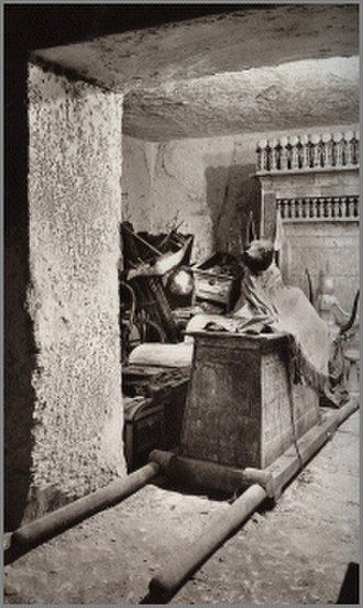 Anubis Shrine - 1922 photograph of the tomb of Tutankhamun. Photograph by Harry Burton (1879-1940)