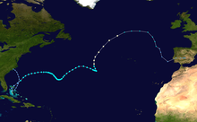 A map of a path across the Atlantic Ocean. The Eastern United States and the Canadian Maritimes are seen on the left side of the image, while Bermuda is seen closer to the center. Cuba is also depicted on the bottom-left.