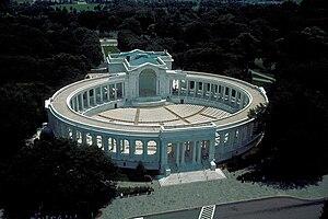 Arlington Memorial Amphitheater - Aerial view looking southeast at Memorial Amphitheater