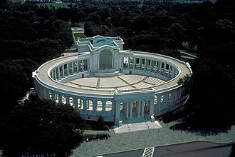 Arlington Memorial Amphitheater - Aerial view looking southeast at Memorial Amphitheater