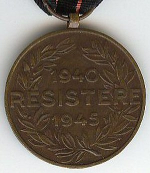 Medal of the Armed Resistance 1940–1945 - Image: Armed resistance medal Belgium reverse