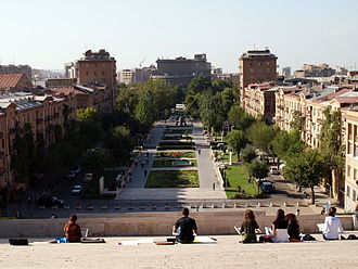 Pedestrian zone - The pedestrian zone between the Opera Theater and the Cascade in Yerevan, Armenia