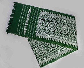 Bodoland - A green coloured Aronai with white Agor (design)