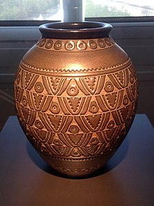A Ceramic Vase Inspired By Motifs Of Traditional African Carved Wood Sculpture Emile Lele 1937 Museum Decorative Arts Paris