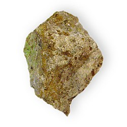 Arthurite on rock Hydrous basic copper iron arsenate Majuba Hill Pershing County Nevada 2231.jpg
