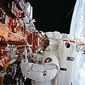 Astronaut Kathryn Thornton during the First Servicing Mission of Hubble Space Telesscope (28049529941).jpg
