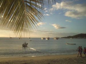 When night was falling, native boys, Margarita island