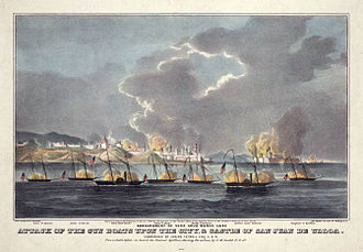 Siege of Veracruz - Attack of the Gun Boats, San Juan de Ulloa, after a sketch by J. M. Ladd, USN