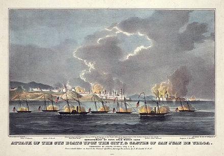 ベラクルスの戦いの間に銃船の攻撃