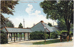 Buffalo, Rochester and Pittsburgh Railway Station (Orchard Park, New York) - Orchard Park station was based on the 1881 station in Auburndale, Massachusetts, seen here on an early color postcard