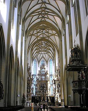 St. Ulrich's and St. Afra's Abbey - Interior of the abbey church, looking east
