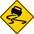 Australia and New Zealand slippery road surface sign.png